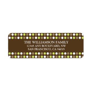 Chocolate Polkadots Return Address Labels (green)