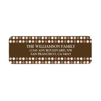Chocolate Polkadots Return Address Labels (pink)