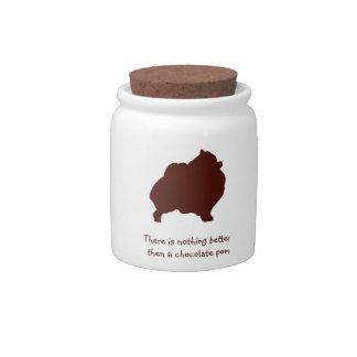 Chocolate Pomeranian Treat Jar Candy Jar
