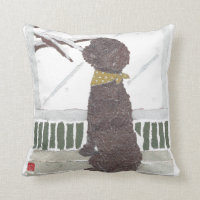 Chocolate Poodle, Brown Poodle Throw Pillow