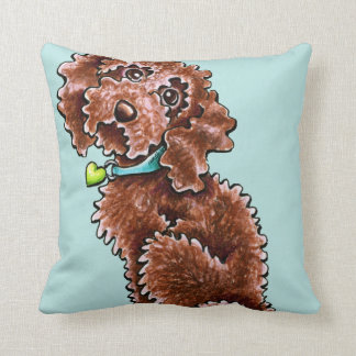 Chocolate Poodle Mix Side Sit Throw Pillow
