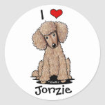 Chocolate Poodle Personalized Round Stickers
