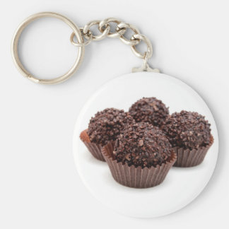 Chocolate Pralines Isolated on White Basic Round Button Keychain