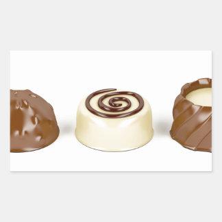 Chocolate pralines rectangular sticker