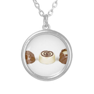 Chocolate pralines silver plated necklace