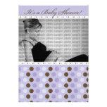 Chocolate Purple Dots Baby Shower Invitation