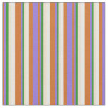 [ Thumbnail: Chocolate, Purple, Forest Green, Tan, and White Fabric ]