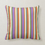 [ Thumbnail: Chocolate, Purple, Forest Green, Tan, and White Throw Pillow ]
