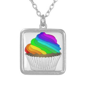 Chocolate Rainbow Cupcake Silver Plated Necklace