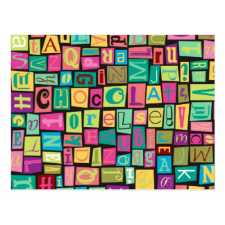 chocolate ransom note postcard