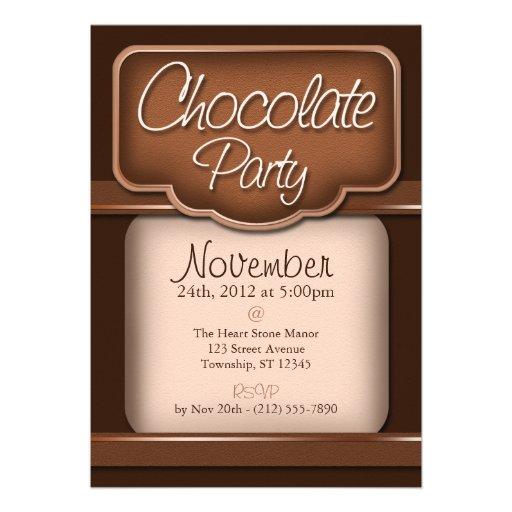 """Chocolate rico: """"Invitaciones del fiesta del choco Invitación"""
