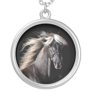 Chocolate Rocky Mountain Horse Round Pendant Necklace