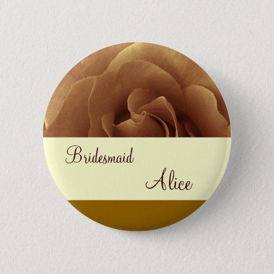 Chocolate Rose and Cream Wedding Bridesmaid Button