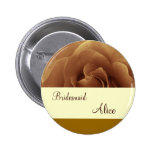 Chocolate Rose and Cream Wedding Bridesmaid Button