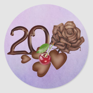 Chocolate rose and number 20th birthday sweet classic round sticker