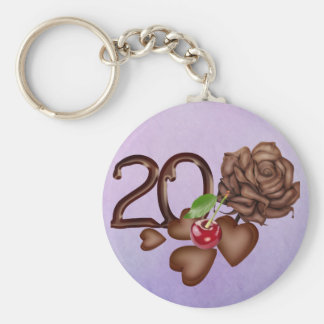 Chocolate rose and number 20th birthday sweet key chain