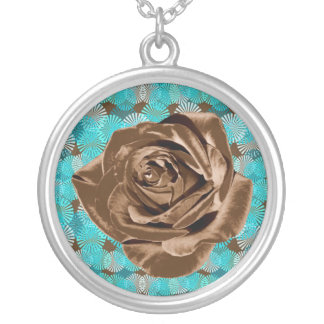 """Chocolate Rose"" pattern collection Silver Plated Necklace"