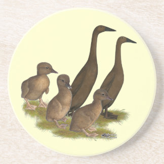 Chocolate Runner Duck Family Beverage Coasters