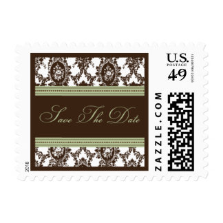 Chocolate & Sage Fancy Save The Date-Small Postage