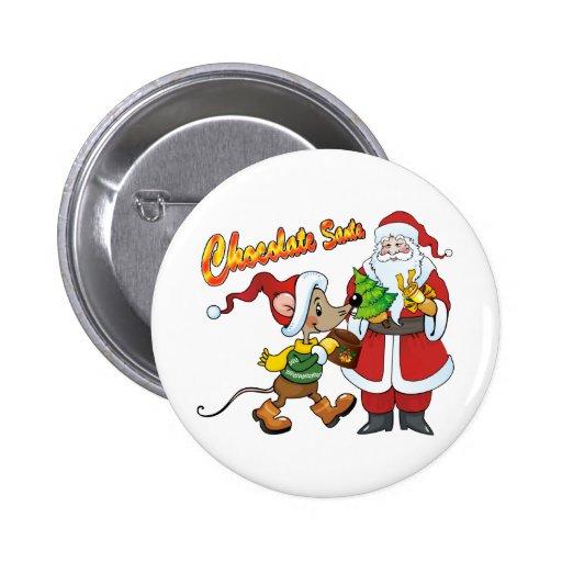 Chocolate Santa 2 Inch Round Button