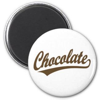 Chocolate script logo 2 inch round magnet