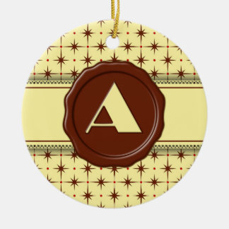 Chocolate Shop Monogram - Chocolate Stars - A Double-Sided Ceramic Round Christmas Ornament
