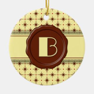 Chocolate Shop Monogram - Chocolate Stars - B Double-Sided Ceramic Round Christmas Ornament
