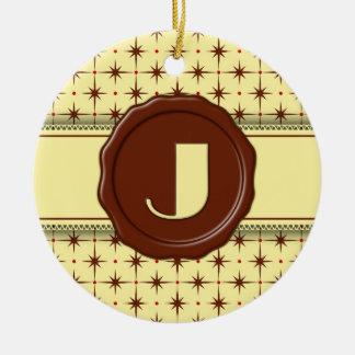 Chocolate Shop Monogram - Chocolate Stars - J Double-Sided Ceramic Round Christmas Ornament