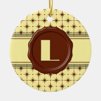 Chocolate Shop Monogram - Chocolate Stars - L Double-Sided Ceramic Round Christmas Ornament