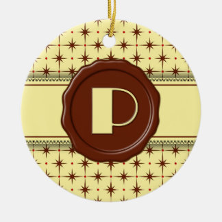 Chocolate Shop Monogram - Chocolate Stars - P Double-Sided Ceramic Round Christmas Ornament