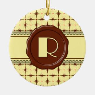 Chocolate Shop Monogram - Chocolate Stars - R Double-Sided Ceramic Round Christmas Ornament