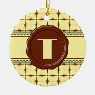 Chocolate Shop Monogram - Chocolate Stars - T Double-Sided Ceramic Round Christmas Ornament