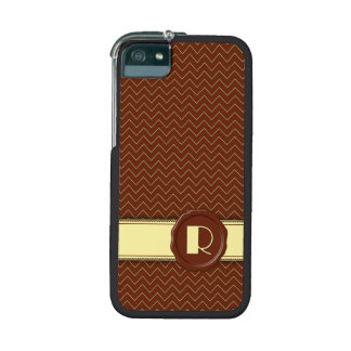Chocolate Shop Monogram - Mint Chevron - R Cover For iPhone 5