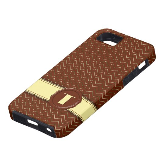 Chocolate Shop Monogram - Mint Chevron - T iPhone SE/5/5s Case