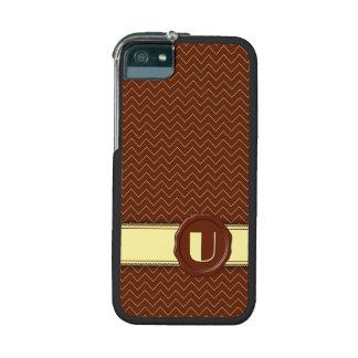 Chocolate Shop Monogram - Mint Chevron - U Case For iPhone 5/5S