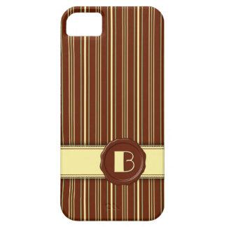 Chocolate Shop Monogram -Mint Chocolate Stripe - B iPhone 5 Cases