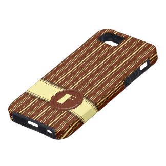 Chocolate Shop Monogram -Mint Chocolate Stripe - F iPhone 5 Covers