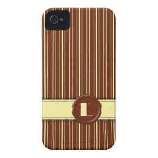 Chocolate Shop Monogram -Mint Chocolate Stripe - L Case-Mate iPhone 4 Cases