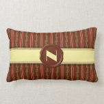 Chocolate Shop Monogram -Mint Floral Stripe - N Throw Pillow