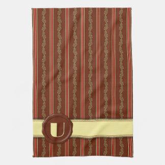 Chocolate Shop Monogram -Mint Floral Stripe - U Kitchen Towel
