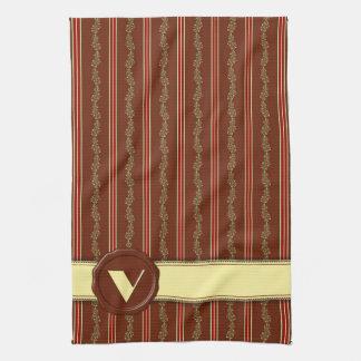Chocolate Shop Monogram -Mint Floral Stripe - V Hand Towel