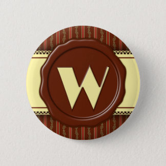 Chocolate Shop Monogram -Mint Floral Stripe - W Button