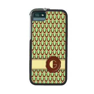 Chocolate Shop Monogram - Mint Scallop - G Cover For iPhone 5