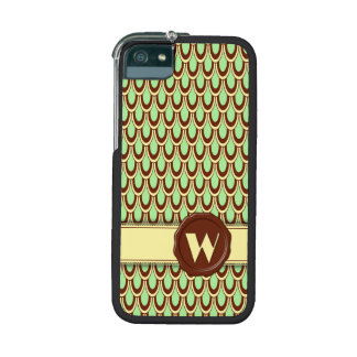 Chocolate Shop Monogram - Mint Scallop - W iPhone 5/5S Cover
