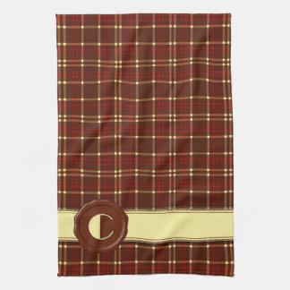 Chocolate Shop Monogram -Red Brown Plaid - C Hand Towel