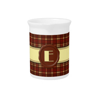 Chocolate Shop Monogram -Red Brown Plaid - E Beverage Pitcher