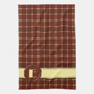 Chocolate Shop Monogram -Red Brown Plaid - E Hand Towel