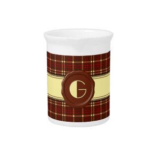 Chocolate Shop Monogram -Red Brown Plaid - G Beverage Pitcher