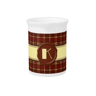 Chocolate Shop Monogram -Red Brown Plaid - K Drink Pitcher