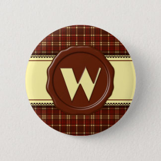 Chocolate Shop Monogram -Red Brown Plaid - W Pinback Button
